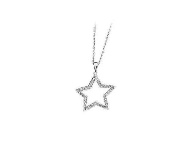 Cubic Zirconia Star Necklace 18 Inch in .925 Sterling Silver with 0.40 Carat Total Gem weight
