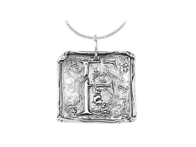 Vintage Pendant with Letter F Engraved Initial Necklace in Rhodium Plating .925 Sterling Silver