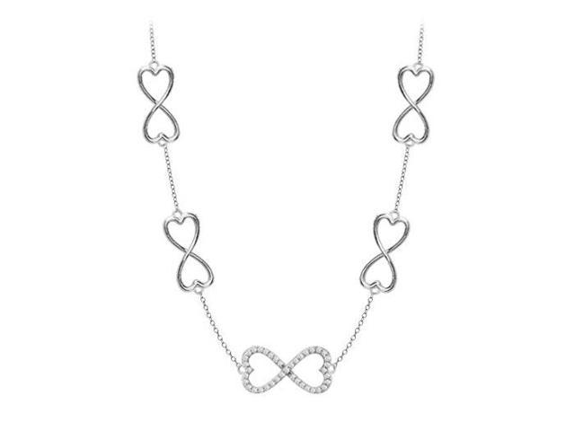 Half carat Diamond Heart Necklace Infinity Link in White Gold 14K cable Chain