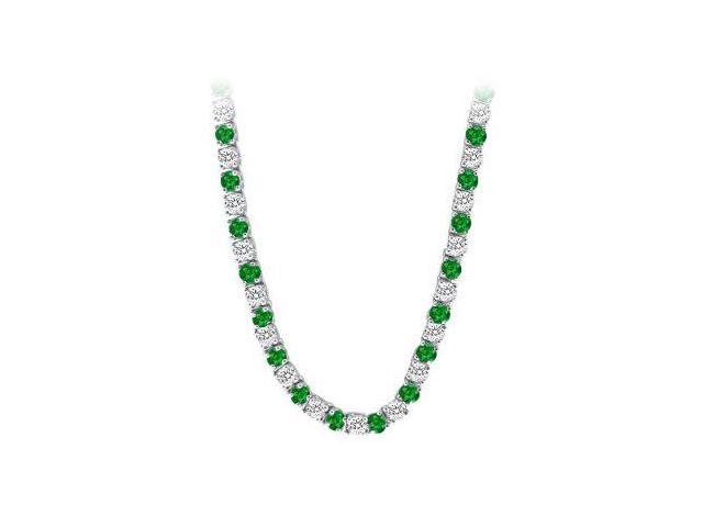 Created Emerald  CZ Tennis Necklace in 14K White Gold 16.00.ct.tw