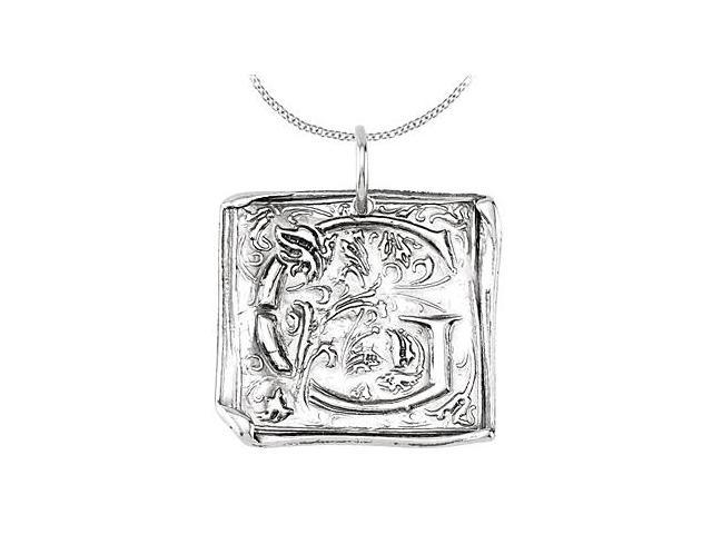 Vintage G Initial Pendant in Sterling Silver .925 Rhodium Plating