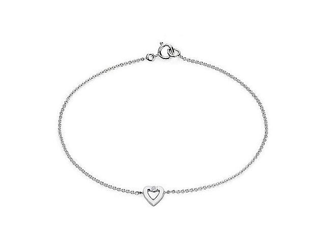 Diamond Heart Necklace in 14K White Gold 0.10 Carat Diamonds
