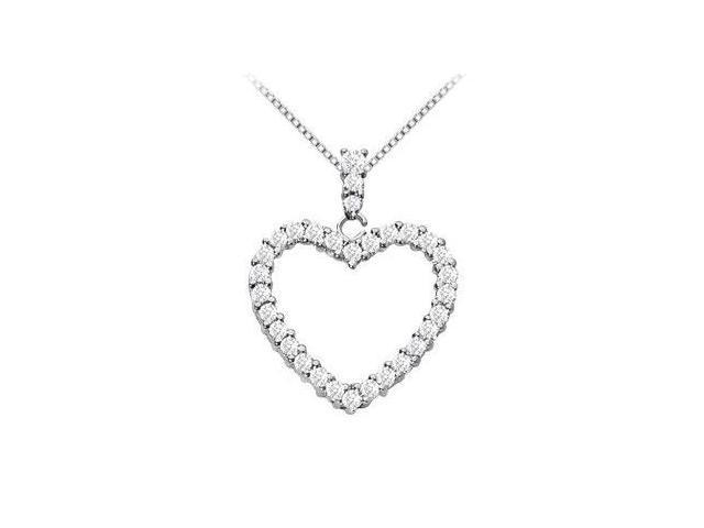 14K White Gold Floating Heart Diamond Pendant Necklace 0.35 Carat Diamonds