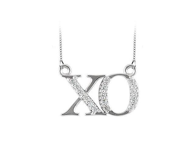 XO symbol Pendant in 14K White Gold with Diamonds 0.15 CT TDWFriendship Necklace
