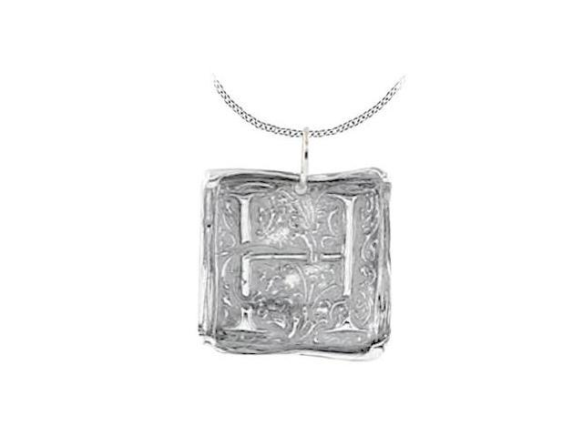 Rhodium Plating .925 Sterling Silver Vintage Letter H  Initial Pendant Necklace