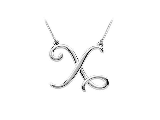Plain Letter X Script Pendant - .925 Sterling Silver