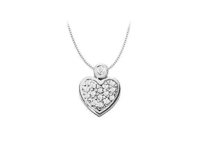 Diamond Heart Shape Necklace with Pave Bezel set in 14K White Gold 0.15 Carat Diamonds