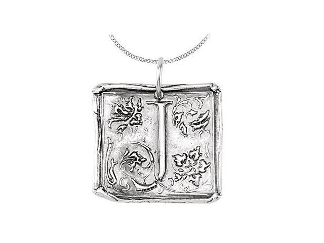 Initial Letter J Vintage Pendant in Rhodium Plating .925 Sterling Silver
