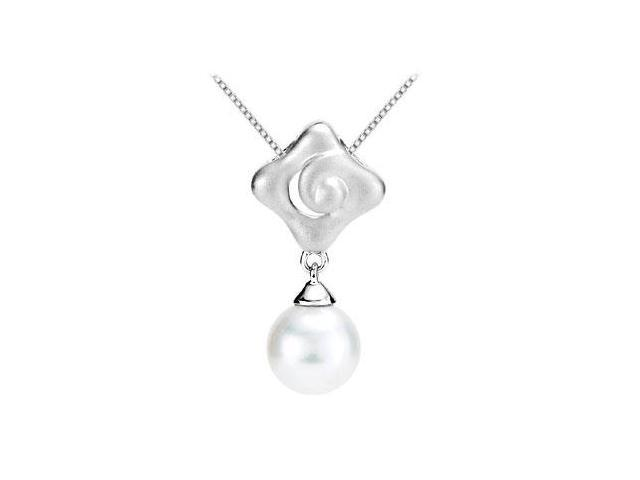 Polished Rhodium .925 Sterling Silver in Freshwater White Cultured Pearl Pendant
