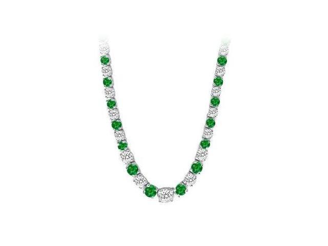 Graduated Created Emerald  CZ Tennis Necklace in 14K White Gold 17.00.ct.tw
