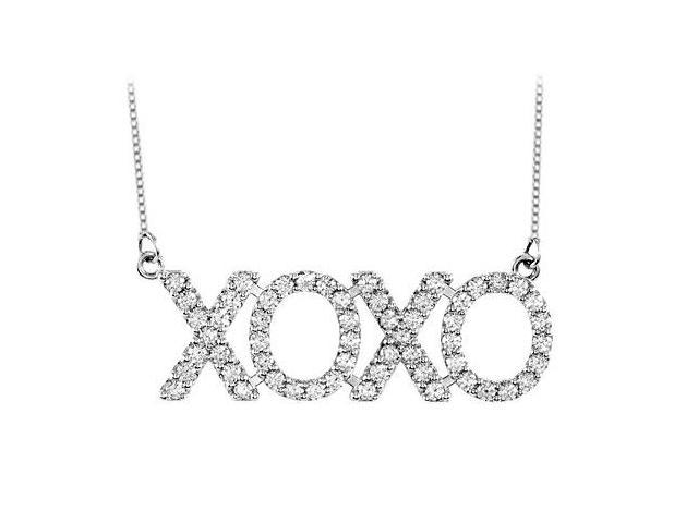 1 Carat Diamond XOXO Necklace in 14K White Gold
