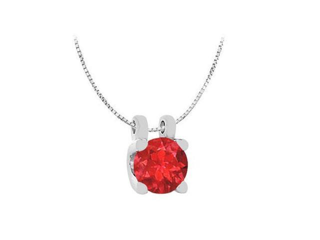 Round GF Bangkok Ruby Solitaire Pendant in 14K White Gold One Carat Total Gem Weight