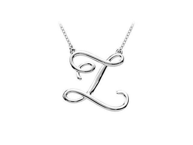 Plain Letter Z Script Pendant - .925 Sterling Silver