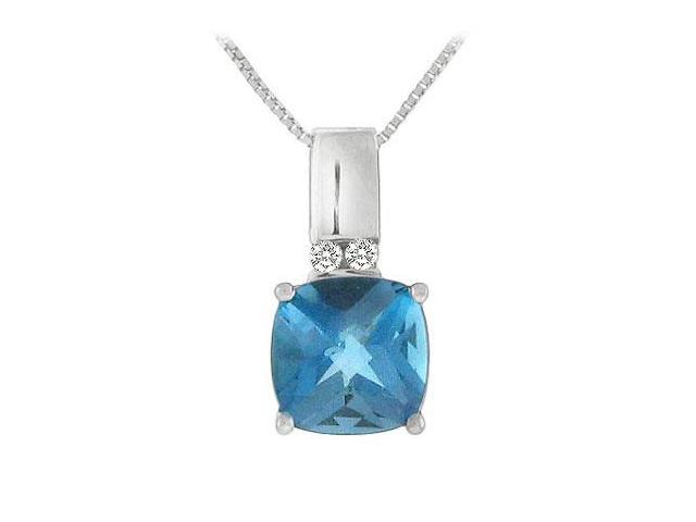 Blue Topaz and Diamond Pendant  14K White Gold - 3.10 CT TGW