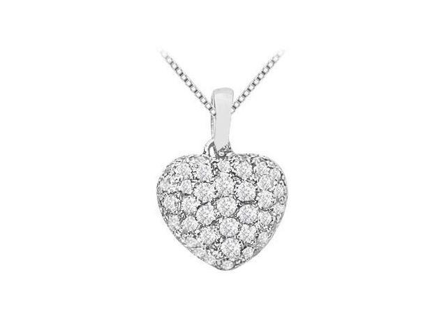 Diamond Puffed Heart Pendant with Half Carat Diamonds in White Gold 14K