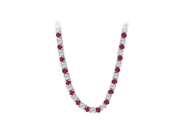 14K White Gold Ruby  Diamond Eternity Necklace 16.00 CT TGW