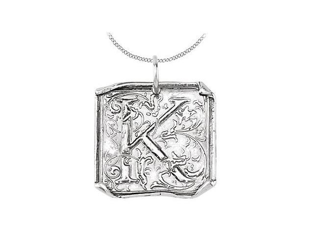 Vintage Letter K Initial Pendant in .925 Sterling Silver Rhodium Plating