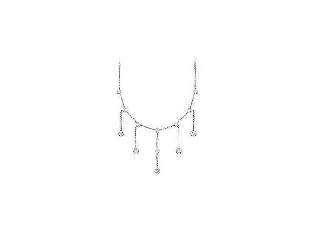 Diamond Fashion Necklace in 14K White Gold One Carat Diamonds Totaling