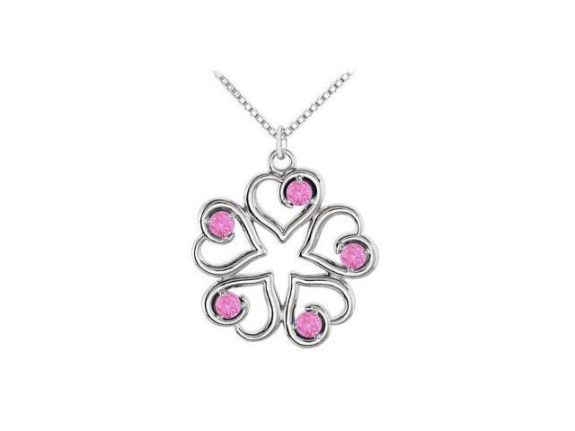 September Birthstone Created Pink Sapphire Heart Pendant in sterling silver 0.25 CT TGW