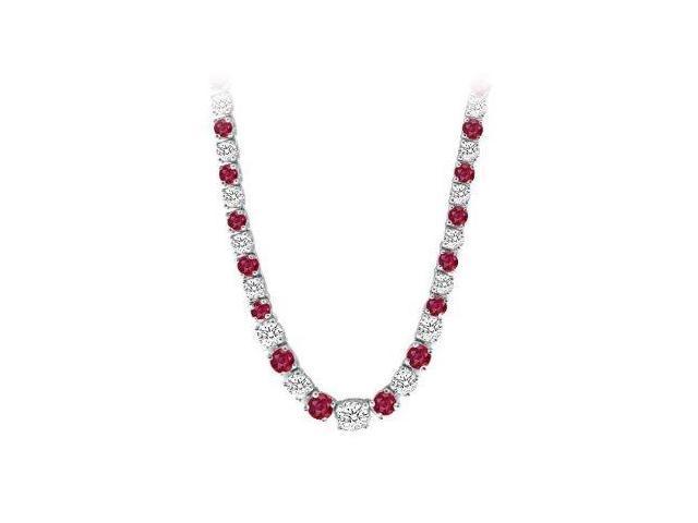 14K White Gold Ruby  Diamond Eternity Necklace 17.00 CT TGW