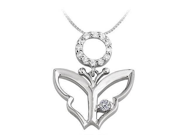 Butterfly Pendant Necklace with Diamond in 14kt White Gold 0.15 CT TGW
