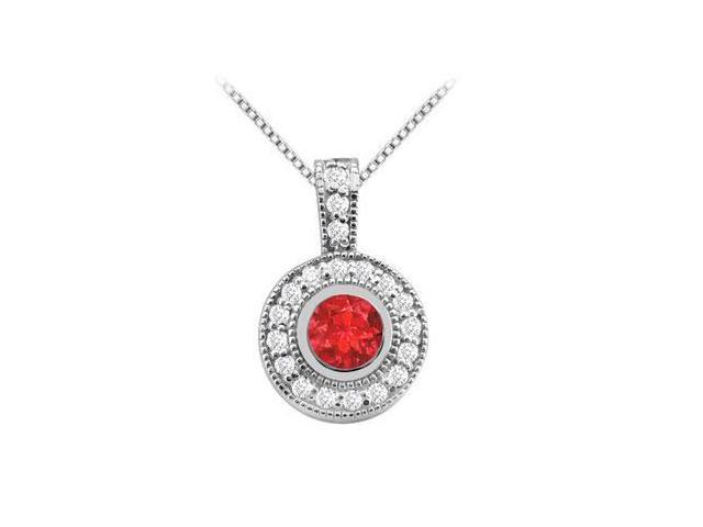 14K White Gold Fashion Pendant with GF Bangkok Ruby and Cubic Zirconia of 2 Carat Total Gem Weig