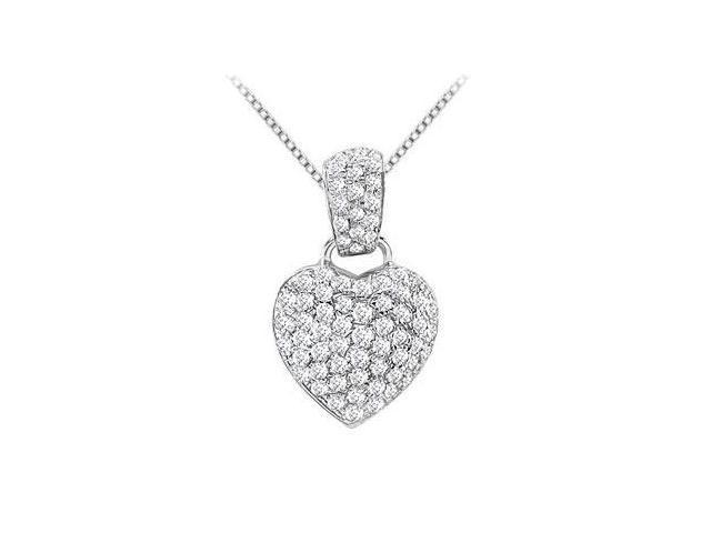 Pave Diamond Heart Pendant in 14K White Gold 0.50 Carat Diamonds