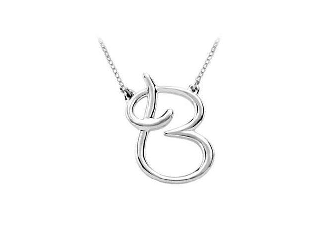 Plain Letter B Script Pendant - .925 Sterling Silver