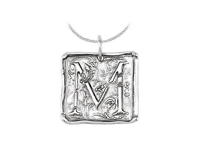 Vintage Pendant with Letter M Engraved Initial Necklace in Rhodium Plating .925 Sterling Silver