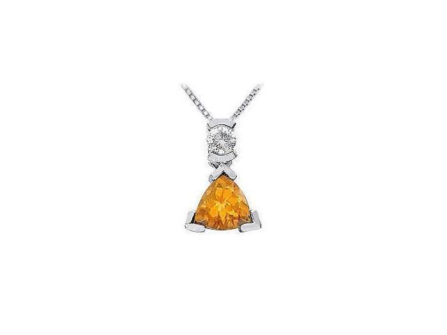 Citrine and Diamond Pendant  14K White Gold - 1.25 CT TGW