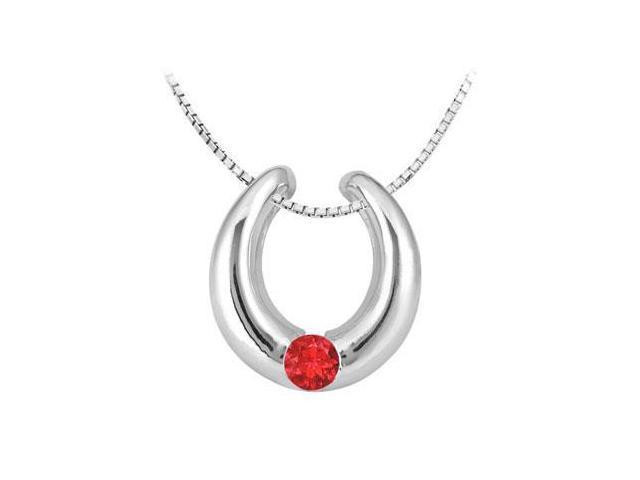 GF Bangkok Ruby horseshoe pendant in 14k white gold 0.50 carat total gem weight