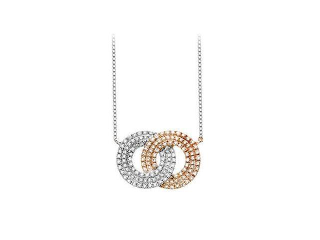 Diamond Double Circle Interlocking Pendant in 14K Two Tone White and Yellow Gold 1.50 Carat Diam