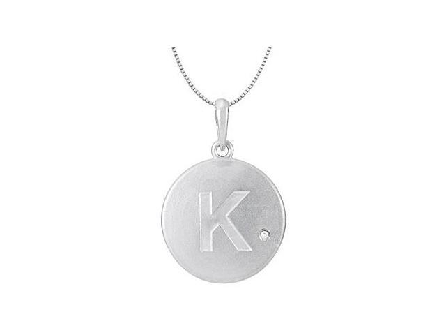 Diamond and Engrave Block Initial K Disc Pendant in 14K White Gold 0.005 Carat Diamond