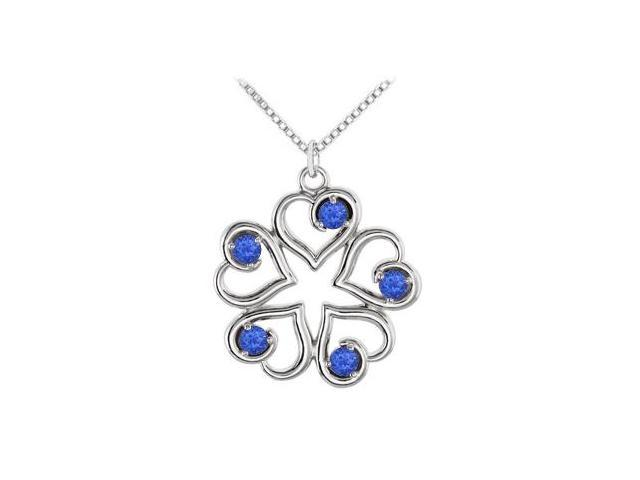 September Birthstone Created Sapphire Heart Pendant in Sterling Silver 0.25 CT TGW