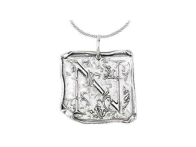 Vintage N Initial Pendant in Sterling Silver .925 Rhodium Plating
