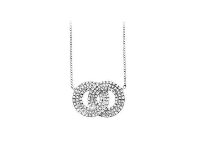 14K white Gold Entwined Circle Necklace with 1.50 Carat Diamonds Pave Setting