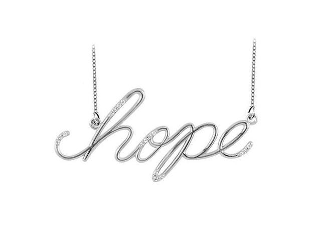 Hope Necklace with Diamonds in 14K White Gold 0.15 CT TDW Friendship Necklace