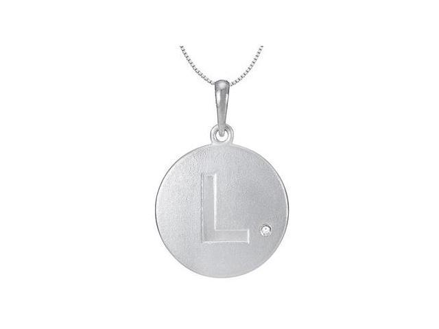 Block Disc Initial L Pendant with Single Diamond Accent in 14K White Gold 16 Inch Necklace