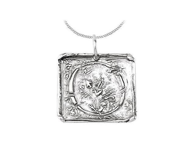 Rhodium Plating .925 Sterling Silver Vintage Letter O Initial Pendant Necklace