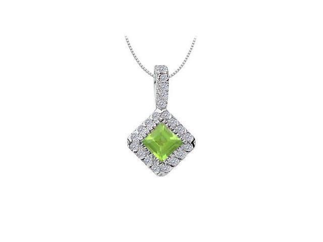 Peridot and Diamond Pendant  14K White Gold - 0.75 CT TGW