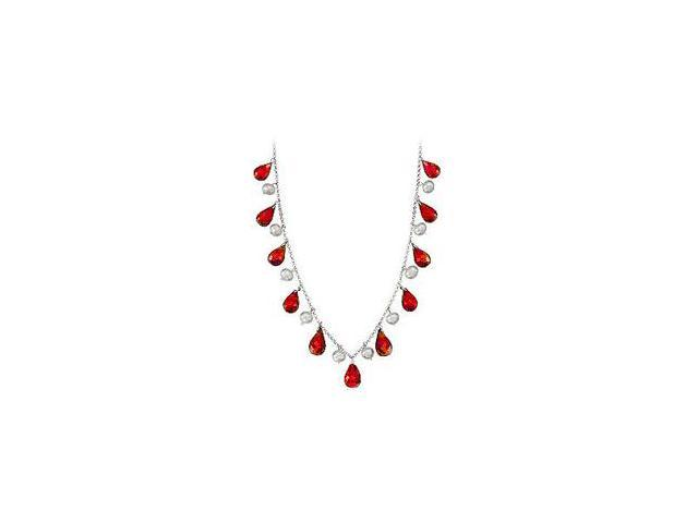Forty Carat Genuine Ruby Teardrop Necklace with Cultured Pearl Set in 14K White Gold Chain