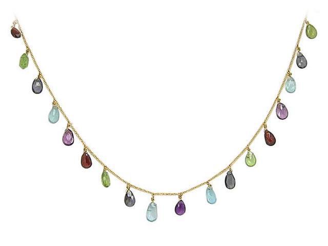 Multicolor Gemstone Necklace  14K Yellow Gold - 25.00 CT TGW