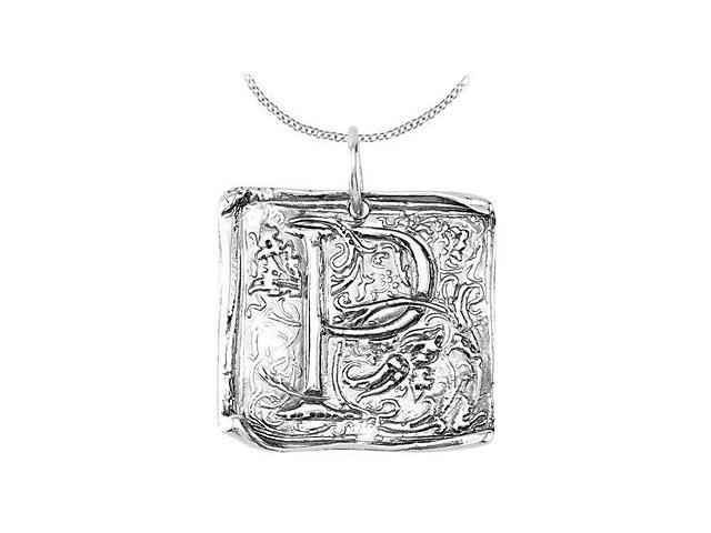 Initial Letter P Vintage Pendant in Rhodium Plating .925 Sterling Silver