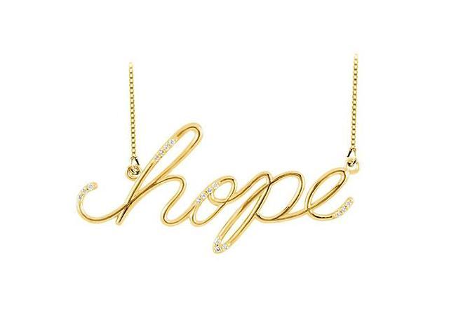 Hope Necklace with Diamonds in 14K Yellow Gold 0.15 CT TDW Friendship Necklace