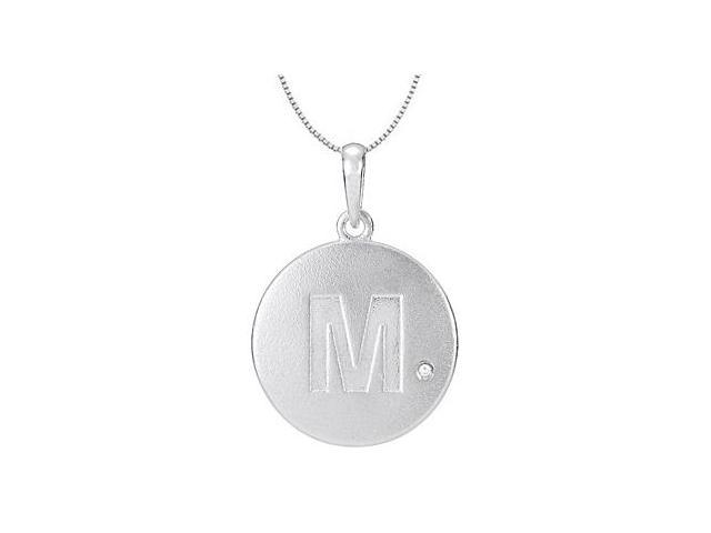 Block Initial M Disc Pendant From Polished 14K White Gold with Single 0.005 Carat Diamond