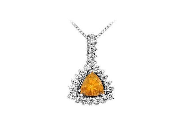 Citrine and Diamond Pendant  14K White Gold - 0.75 CT TGW