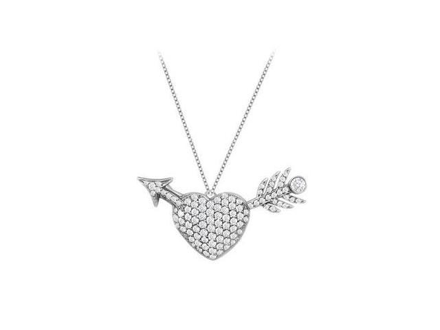 Diamond Heart and Arrow Pendant in Pave Set 14K White Gold 1.00 Carat Diamonds