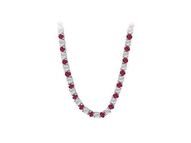 Created Ruby  CZ Tennis Necklace in 14K White Gold 16.00.ct.tw