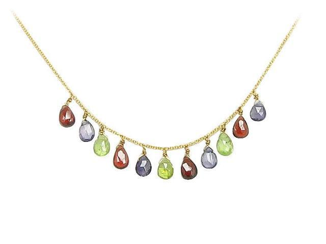 Multicolor Gemstone Necklace  14K Yellow Gold - 7.00 CT TGW