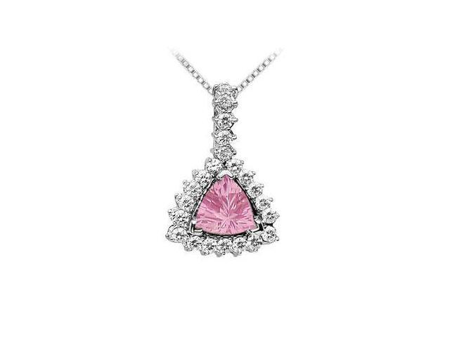 Pink Topaz and Diamond Pendant  14K White Gold - 0.75 CT TGW